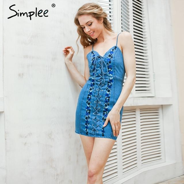 Simplee Sexy lace up flower denim dress Women vintage bodycon embroidery summer sundress Beach party short dresses blue vestidos