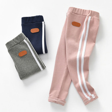 0-6T New Fashion Girl Pants Pure Color Side stripe Sports Leggings for