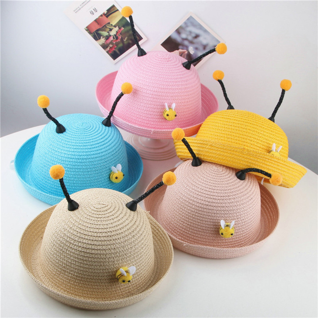 1-8Y Cute Baby Cartoon Children Kids Boy Girls Hat Fashion Summer Breathable Beach Hat Straw Cap Hair Accessories
