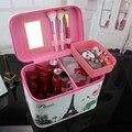 Niñas de corea del Maquillaje A Prueba de agua Bolsa de Viaje Organizador Cosmético Del Bolso de LA PU para Las Mujeres Necessaries Make Up Case Wash Neceser Grande