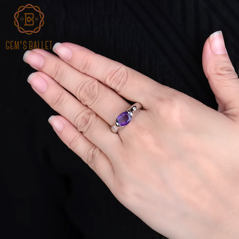 GEM S BALLET 1 79Ct Solid Natural Oval Amethyst Purple Vintage Ring 925 Sterling Silver Gemstone