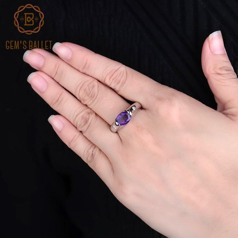 GEM'S バレエ 1.79Ct 固体ナチュラルオーバルアメジストパープルヴィンテージリング 925 スターリングシルバー宝石用原石リング女性のためのファインジュエリー  グループ上の ジュエリー & アクセサリー からの 指輪 の中 1