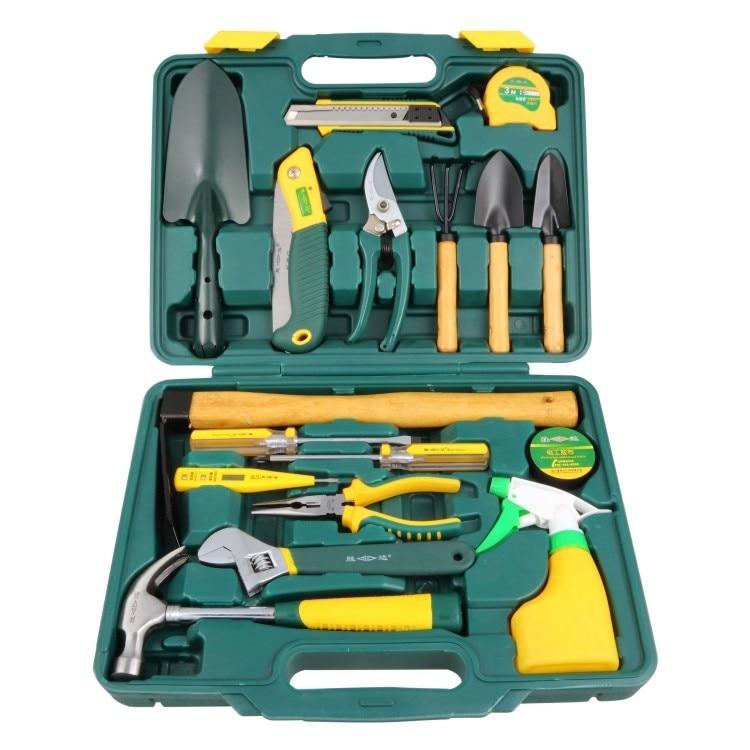 Eighteen pieces of gardening tool suit combination Household garden combination toolbox kraft will seven sets of garden tool set gardening metal toolbox tool set