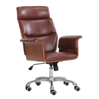 Mid Century Leather Big&Tall Executive Office Chair With Wheel Racing Ergonomic Leather Recliner Office Computer Chair Furniture
