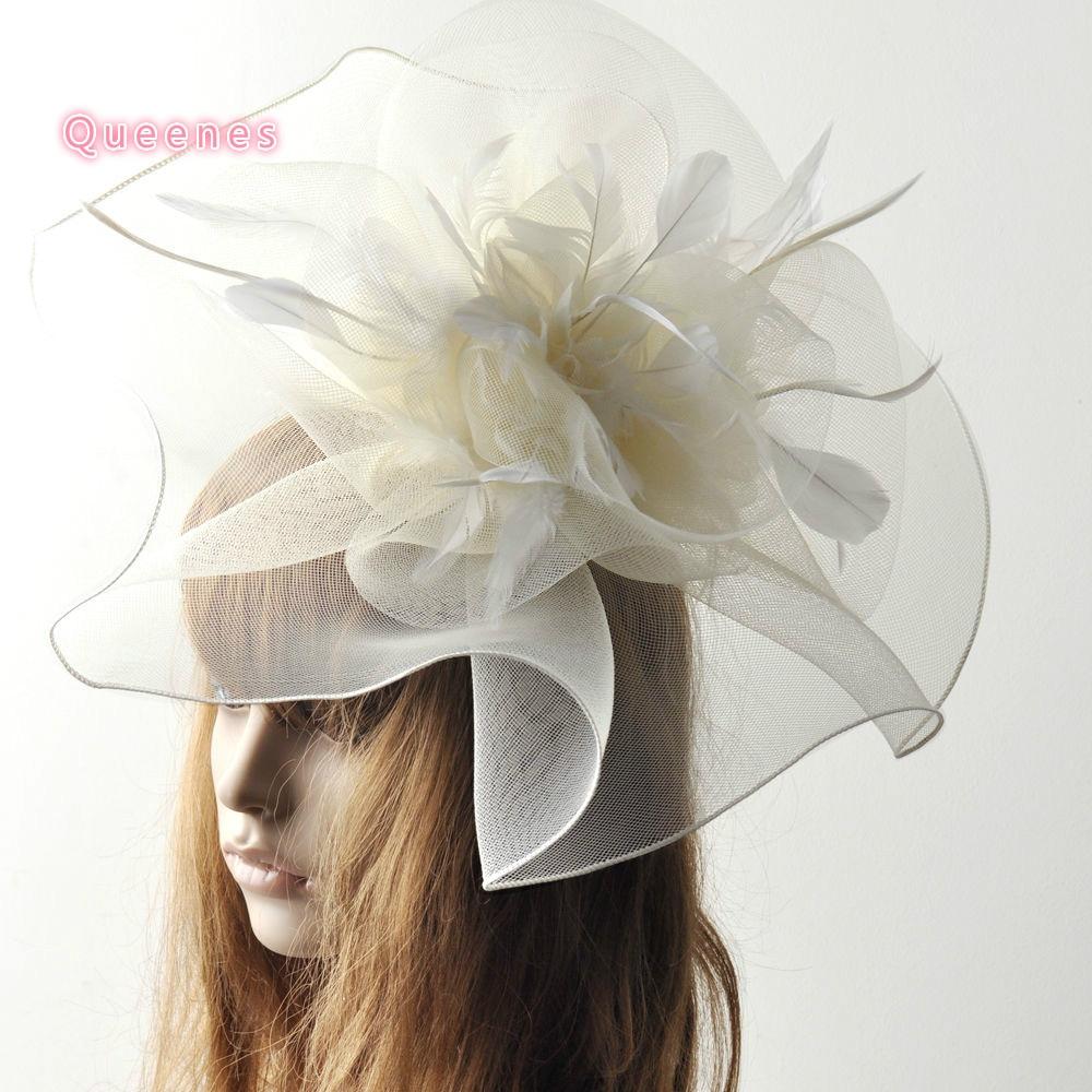 Hotselling Ladies Wedding Fascinator Ručně vyráběné Vogue Velké béžové péřové spony do vlasů pro ženy Fancy Party Cocktail Headdress