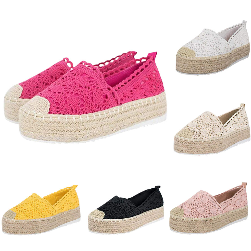 2019 Chaussures Femme обувь женская Women's Hollow Platform Shoes Solid Color Breathable Wedge Espadrilles Zapatillas Mujer #35
