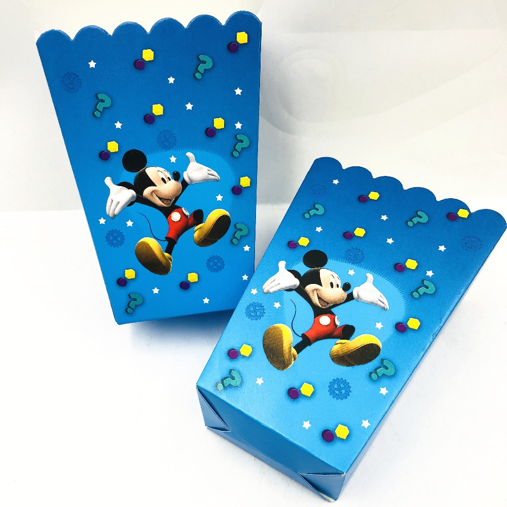 Kids Mickey Mouse Themed Party Box Of Popcorn For Baby 2nd Birthday Decorations Supplies Butter Boxes