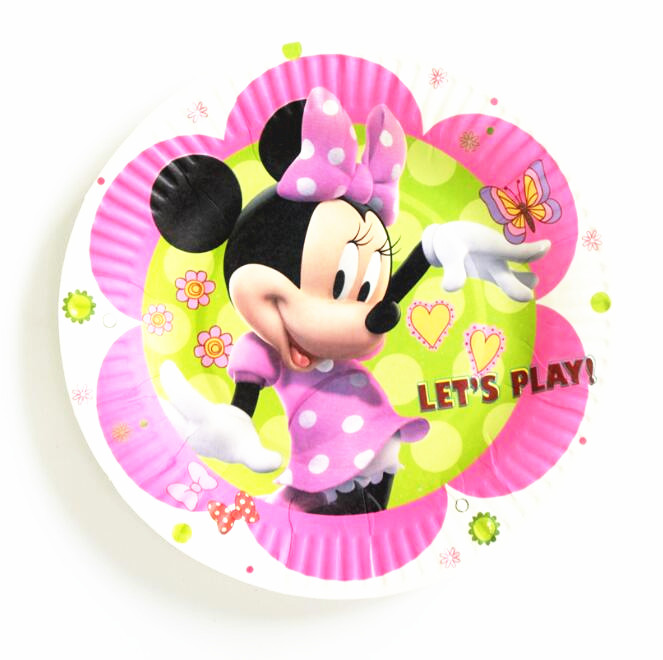 10pcs Cartoon Minnie Mouse Party Paper Plate Disposable Round Paperboard Cute Minnie Plate Birthday Dish Supplies Kids