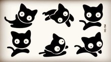 Round Eyes Small Playing Jumping Black Cats Tattoo Body Art Beauty Makeup Waterproof Temporary Tattoo Stickers