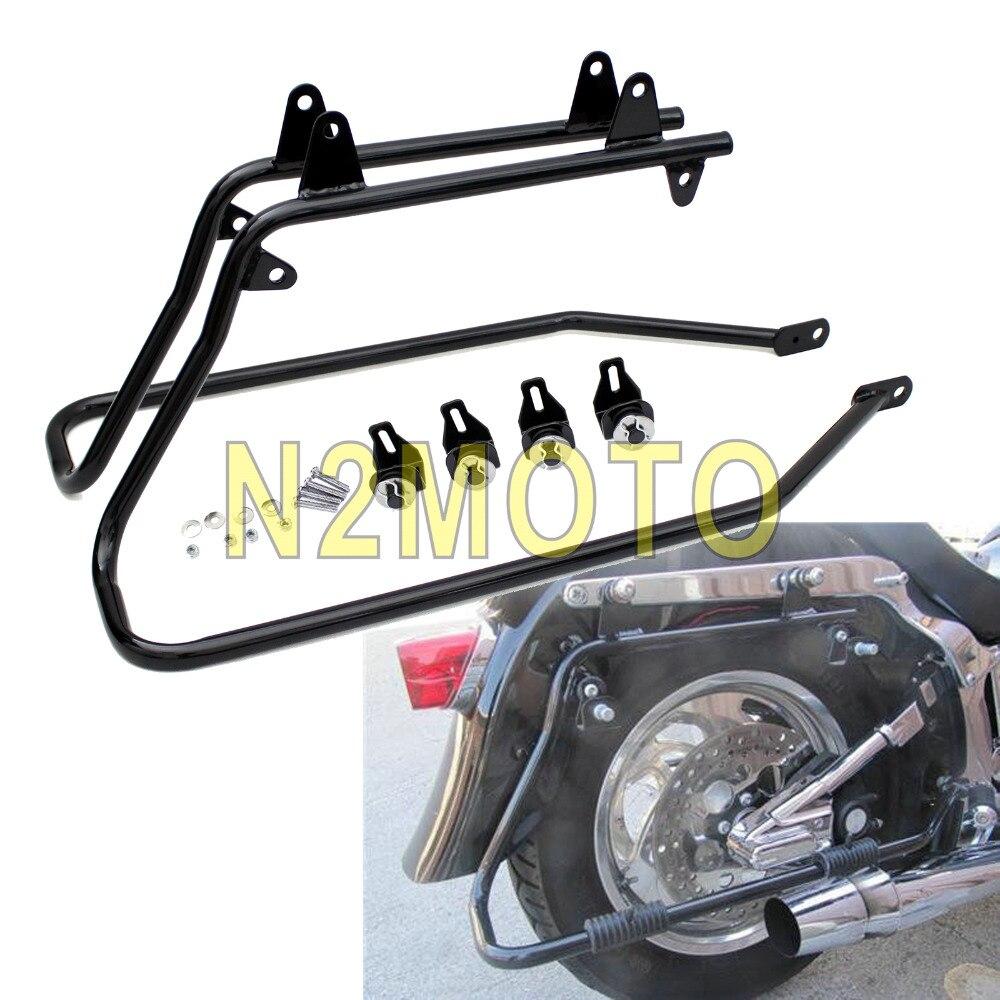 Black Motorcycle Conversion Brackets Saddlebag Holder for Harley Softail Fat Boy Heritage 1986 2013