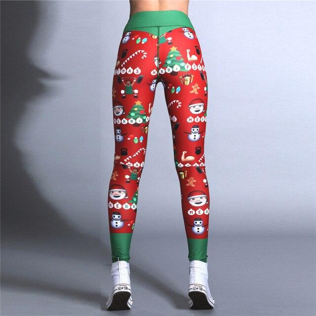 2019 Hayoha Christmas Printing Leggings Put Hip Elastic High Waist Legging Breathable Merry Christmas Pants 4