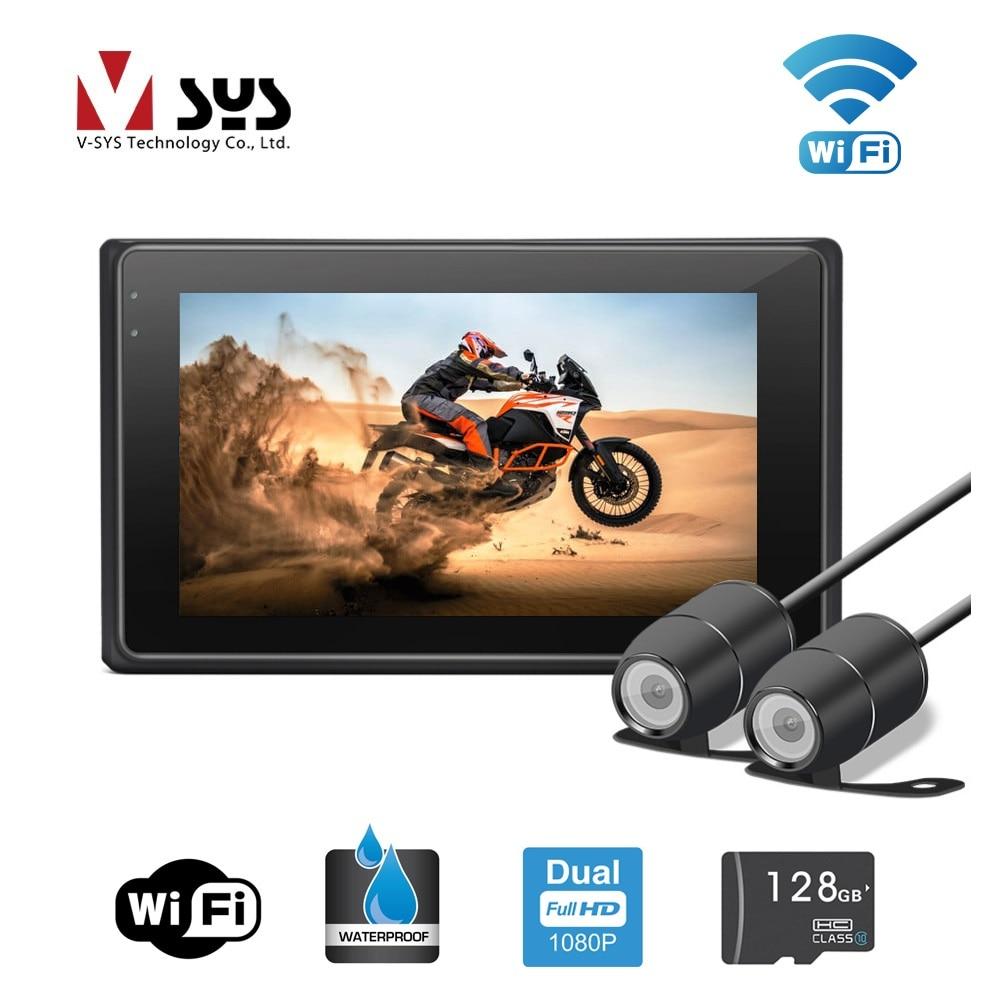 VSYS 3.0 ''M2F WiFi Support Double 1080 p Moto DVR Moto Dash Cam Avant et Vue Arrière Caméras Étanches, GPS piste