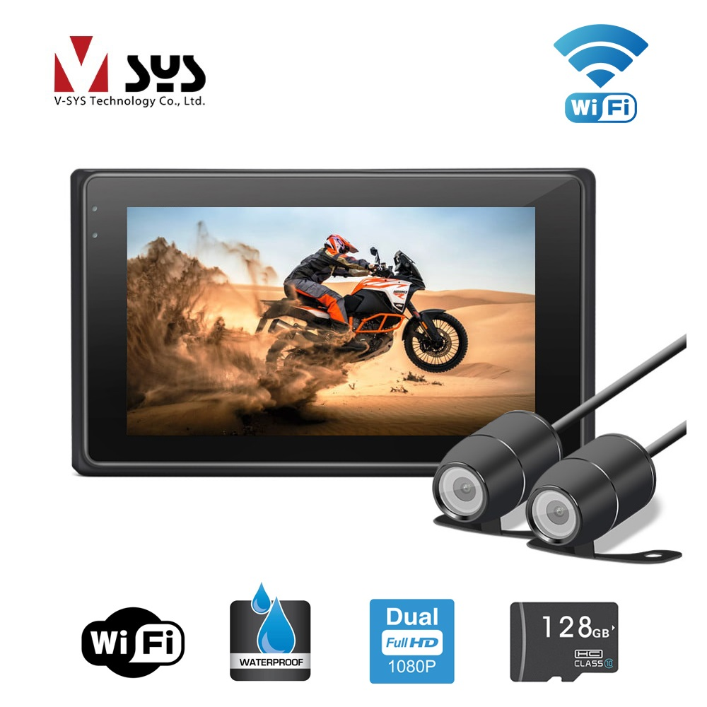 VSYS 3.0'' M2F WiFi Support Dual Camera 1080P Motorcycle DVR Motorbike Dash Cam Front & Rear View Waterproof Cameras, GPS track vsys motorcycle dvr 3 0 x2 upgrade m2f wifi real fhd dual 1080p motorcycle camera dash cam front