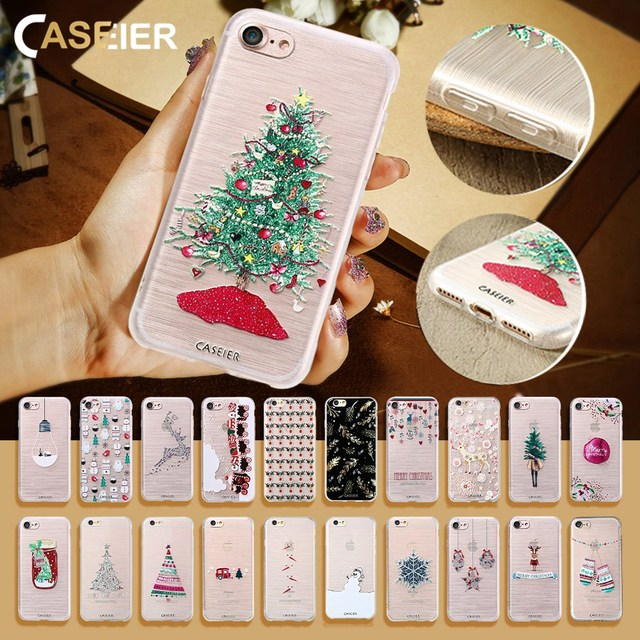 CASEIER Winter Phone Case For iPhone 6 6s Plus Lovely Emboss Soft TPU Cover For iPhone 7 8 Plus X 5 5s SE Christma Case Funda