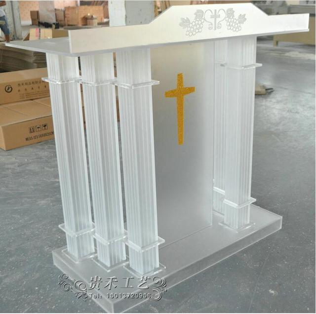 Frete Grátis acrílico pódio com tubos de superfície Fosca, personalizado pódio igreja Tamanho personaliza logotipo