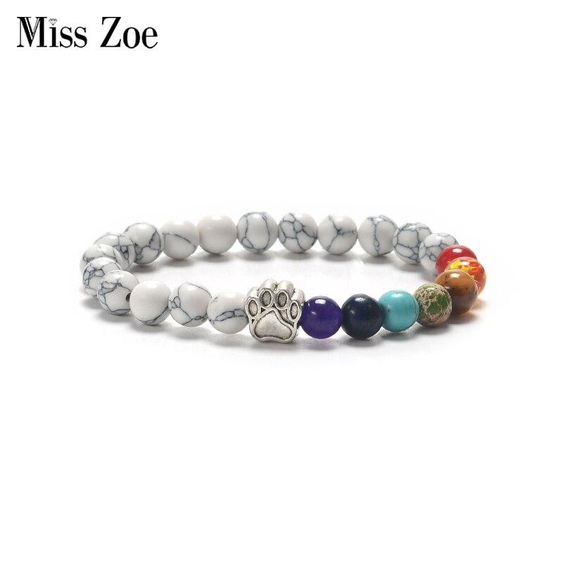 8 Styles Paw Beads Chakra Bracelets Handmade Natural Stone Wristband Bangle bijoux Animal Pet Jewelry Gift for Cat Dog fans