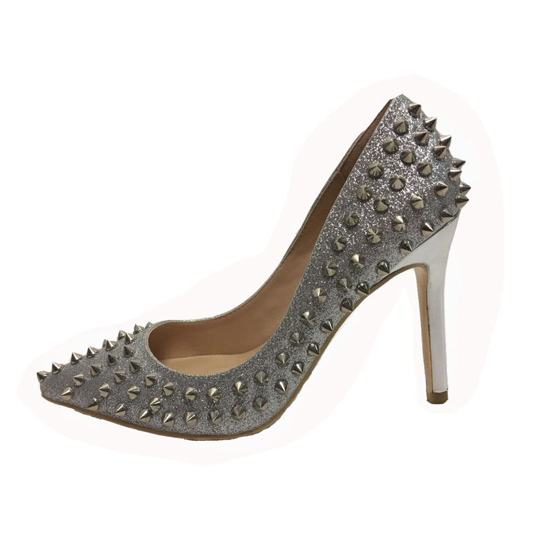 2018 Women Sequined Cloth Rivet Pumps Pointed Toe Spike High Heels Slip-on Shoes Sexy Office Lady Pumps Gold Silver Grey asumer high heels large size 33 41 office shoes pointed toe square heels slip on women pumps sequined black apricot lady shoes