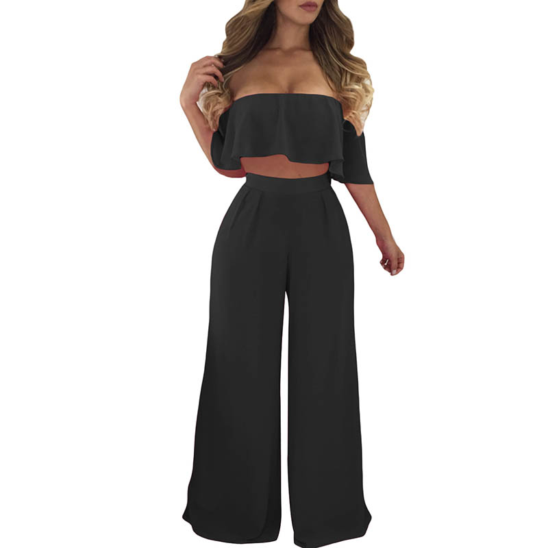 6f63dc475afa Liva Girl White Off Shoulder Ruffle Crop Top   Wide Leg Pants Two Piece Set  Womens Casual Summer 2 Piece Outfits for Women 2018 -in Women s Sets from  ...
