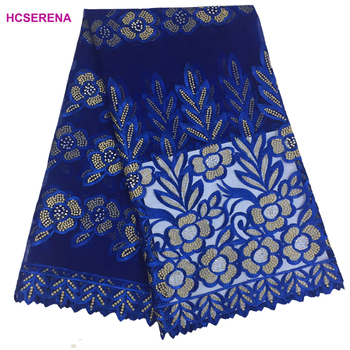 5yards/lot New design 2018 High quality Royal blue color nigerian french lace african lace fabric for party dress.free shipping