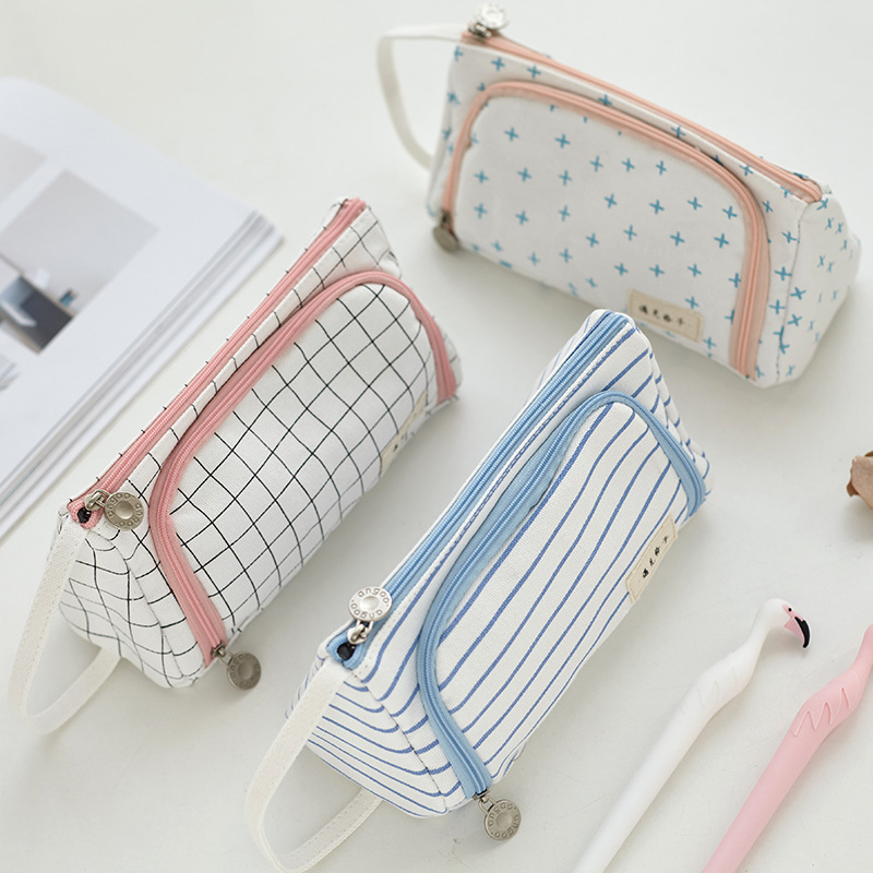 Creative Grid Large Capacity Pencil Case Girl Boy Student Multifunction Stationery Pen Brushes Bag Pouch Box School Gifts 220909 school gifts boxes pupil men multifunctional creative disney child pencil box primary school student