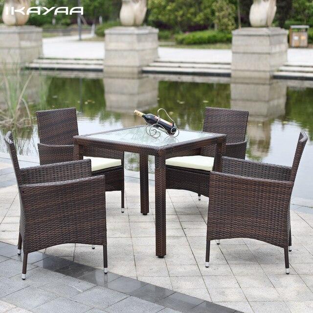 ikayaa 5 pcs rotin patio exterieur table a manger ensemble amorti meubles de patio de jardin