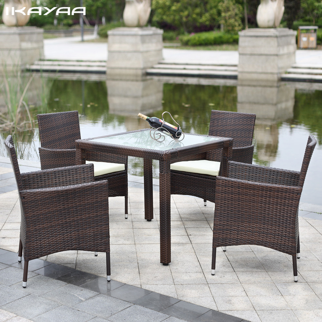 iKayaa 5PCS Rattan Outdoor Patio Dinning Table Set Cushioned Garden Patio Furniture Set FR Stock