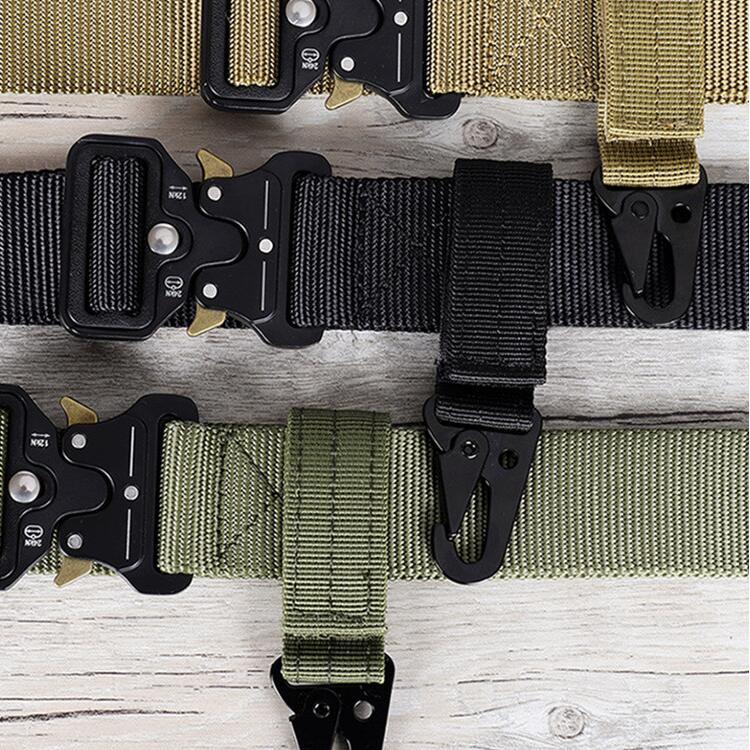 Men's canvas clasp Colorful Keychain Military nylon metal button Oyster mouth shape Paste belts Cool alloy buckle men eagle belt
