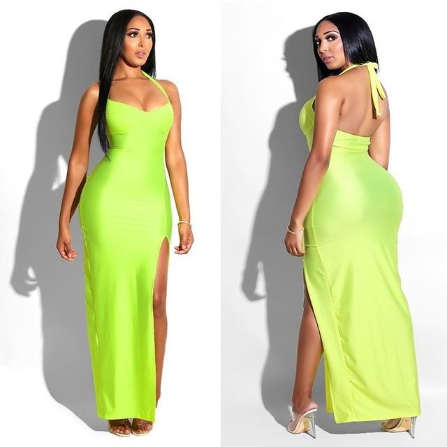 Synthetic Leather Halter Split Bodycon Kim Kardashian Outfit Dress 4
