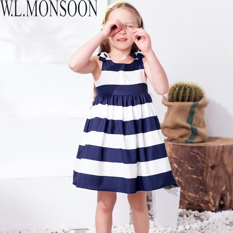 W.L.MONSOON Baby Girls Dress Summer 2017 Brand Children Dress Princess Costume Striped Vestidos Kids Dresses for Girls Clothes