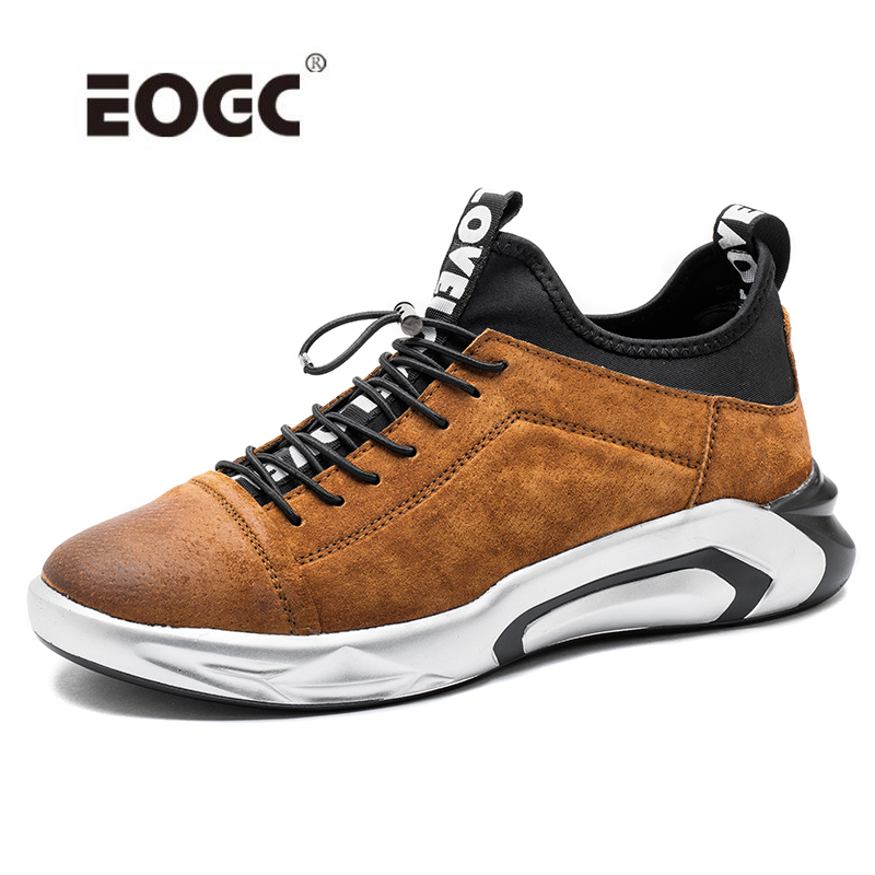 Genuine Leather Men Shoes Breathable Sneakers Men Rubber Non-slip Shoes Fashion Lace Up Men Casual Shoes Zapatillas Hombre business men tie shallow mouth brown leather casual rivet shoes men s shoes round youth non slip rubber sole