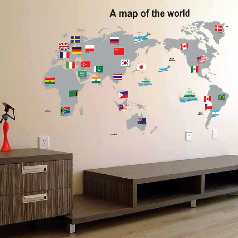 2015 hot sale world map with country flags wall stickers for 2015 hot sale world map with country flags wall stickers for learning studyart words sayings vinyl wall decals national flag in wall stickers from home gumiabroncs Choice Image