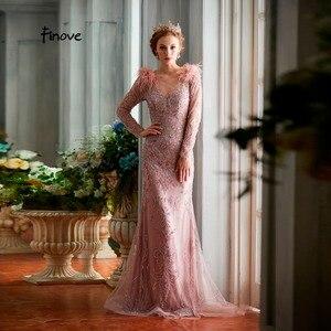 Image 3 - Finove akşam elbise 2020 zarif altın gül Mermaid stilleri boncuk tüyleri tam kollu uzun kat uzunluk parti örgün önlükler