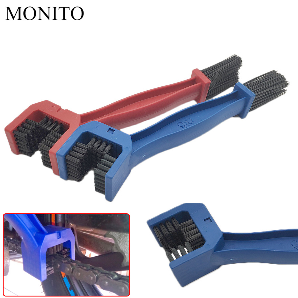 Motorcycle Chain Maintenance Cleaning Brush Cleaner Tool For <font><b>KAWASAKI</b></font> Z900 Z650 Z800 <font><b>NINJA</b></font> <font><b>250</b></font> 300R 300 Z250 Z300 250R Blue/RED image