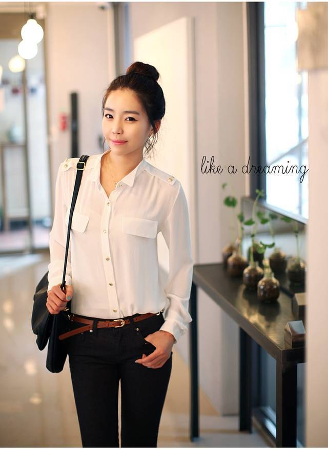 07df230a2e9 Korean casual OLblouse Business attire Career temperament long sleeved  shirt Rivet Decorative women work wear tops 5158 -in Blouses   Shirts from  Women s ...