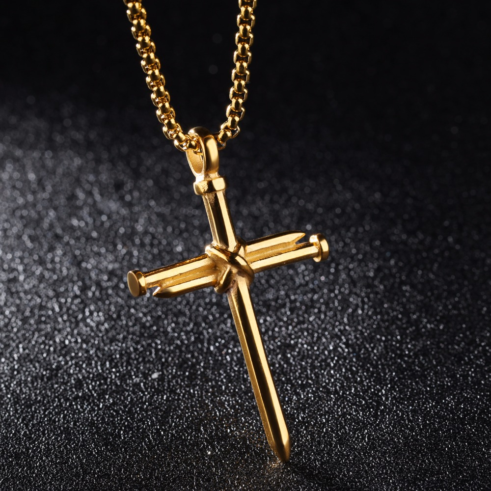 New Religious Nail Cross Necklace For Men Jesus Christ Pendants 3 ...