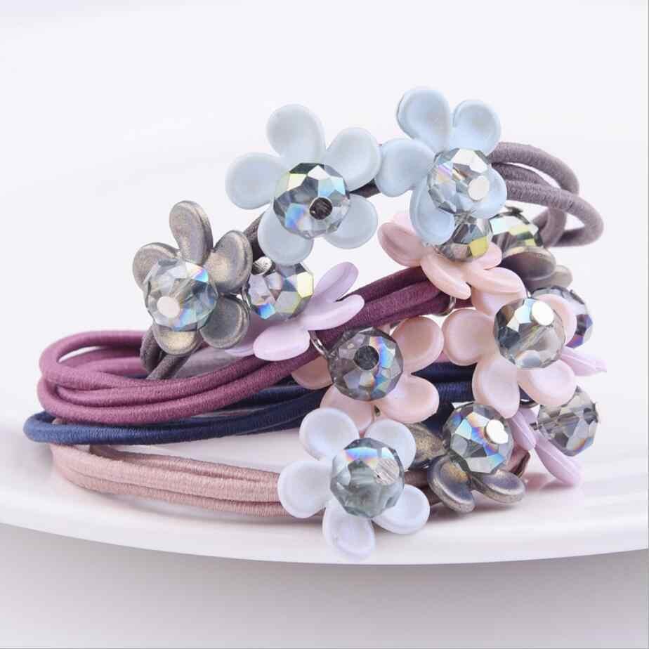 Women Elastic Hair Bands Hair Accessories Big Flower Hair Rope Rhinestones Imitation Charms Rubber Band Headwear Floral Fashion