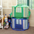 34L stripe large ice bag thick picnic insulated cooler bag on vehicular car refrigerator storage organizer