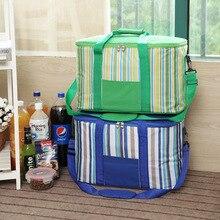 34L streifen große eis tasche dicke picknick isolierte kühltasche auf fahrzeug auto kühlschrank speicherorganisator