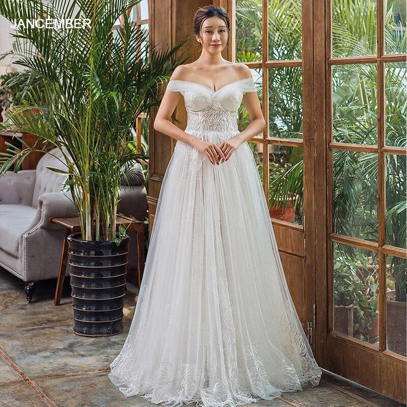 J66648 jancember robe de mariée boho en dentelle à épaules dénudées dos à lacets longueur élégante robe de mariée robe de mariee 2019