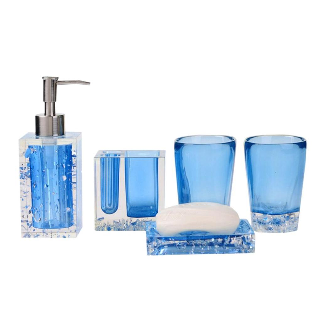 New 5pcs Bath Set Resin Bathroom Accessories Set Soap Dish ...