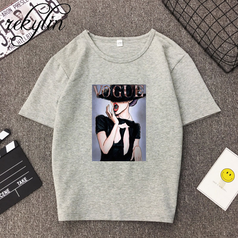 2019 Print Vogue 100 Cotton T Shirts Print Women T Shirts O Neck Short Sleeve Summer Tops Tee Trend style Rose clothing in T Shirts from Women 39 s Clothing