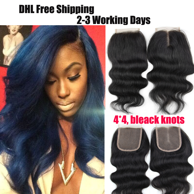 44 Malaysian Lace Closure Bleached Knots 6a Body Wave Hair Weave