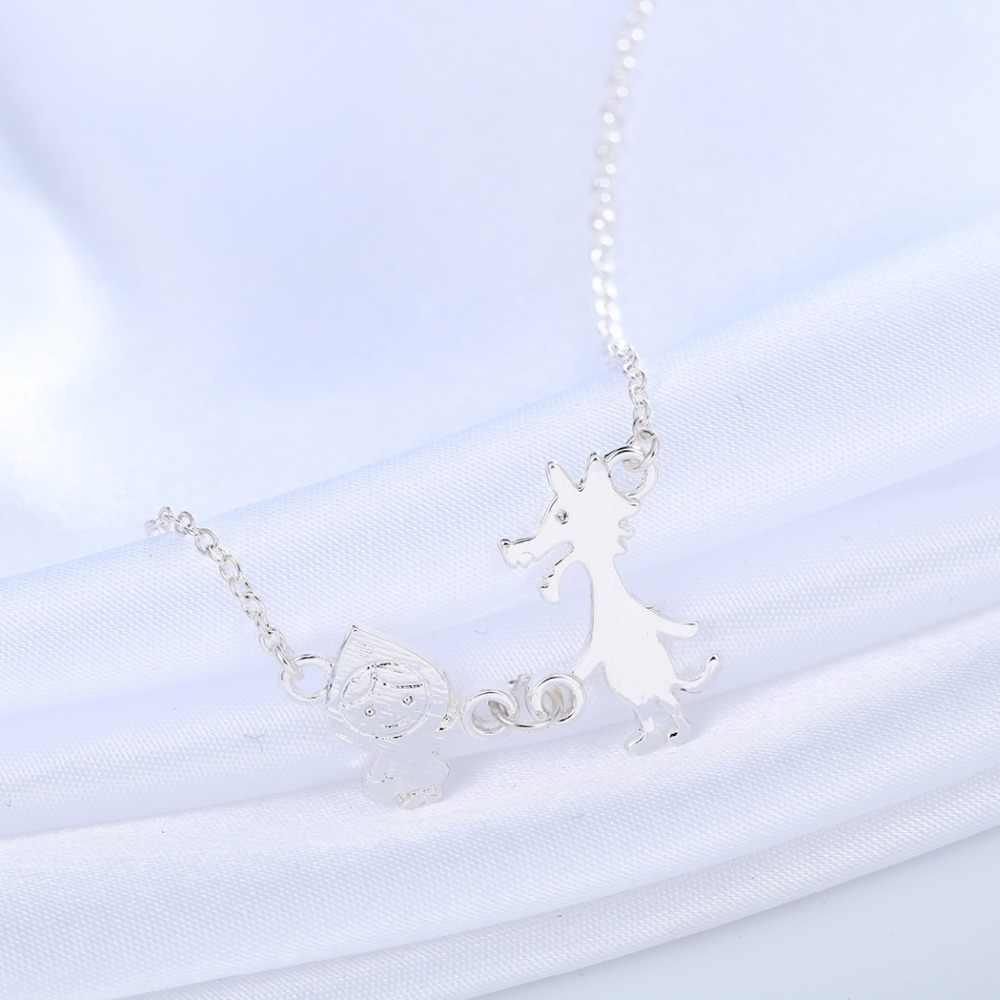 QIAMNI Min 1 piezas pequeño collar con capucha roja colgante bonito collar de joyería de moda regalo para niñas y mujeres