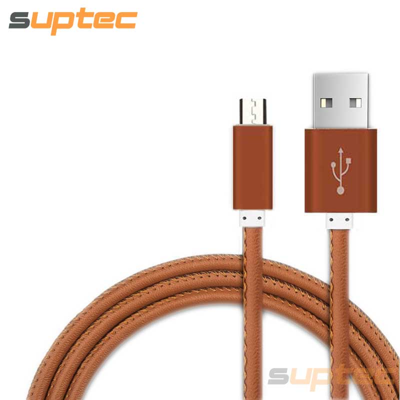 SUPTEC Micro USB Cable Metal Plug Fast Charging Leather Data Cable for Samsung S7 S6 S5 S4 Huawei Xiaomi LG Lenovo Android Phone