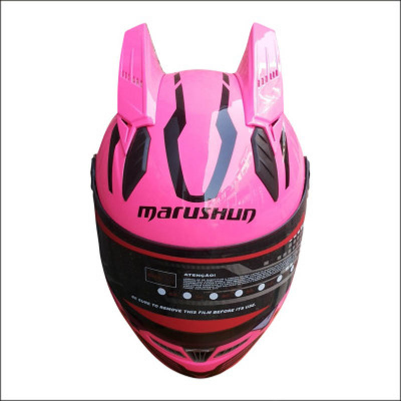 Brand MALUSHUN motorcycle helmet Pink helmet full face automobile racing helmet Casco moto with pink horns