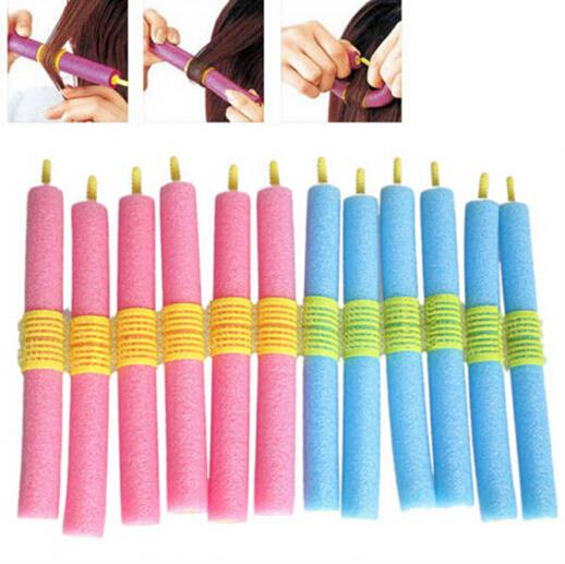 12pcs Magical Anion Soft Foam Hair Care DIY Hair Style Roller Curler Maker Salon Sponge Hair Styling Tool Bendy Twist Curls Tool