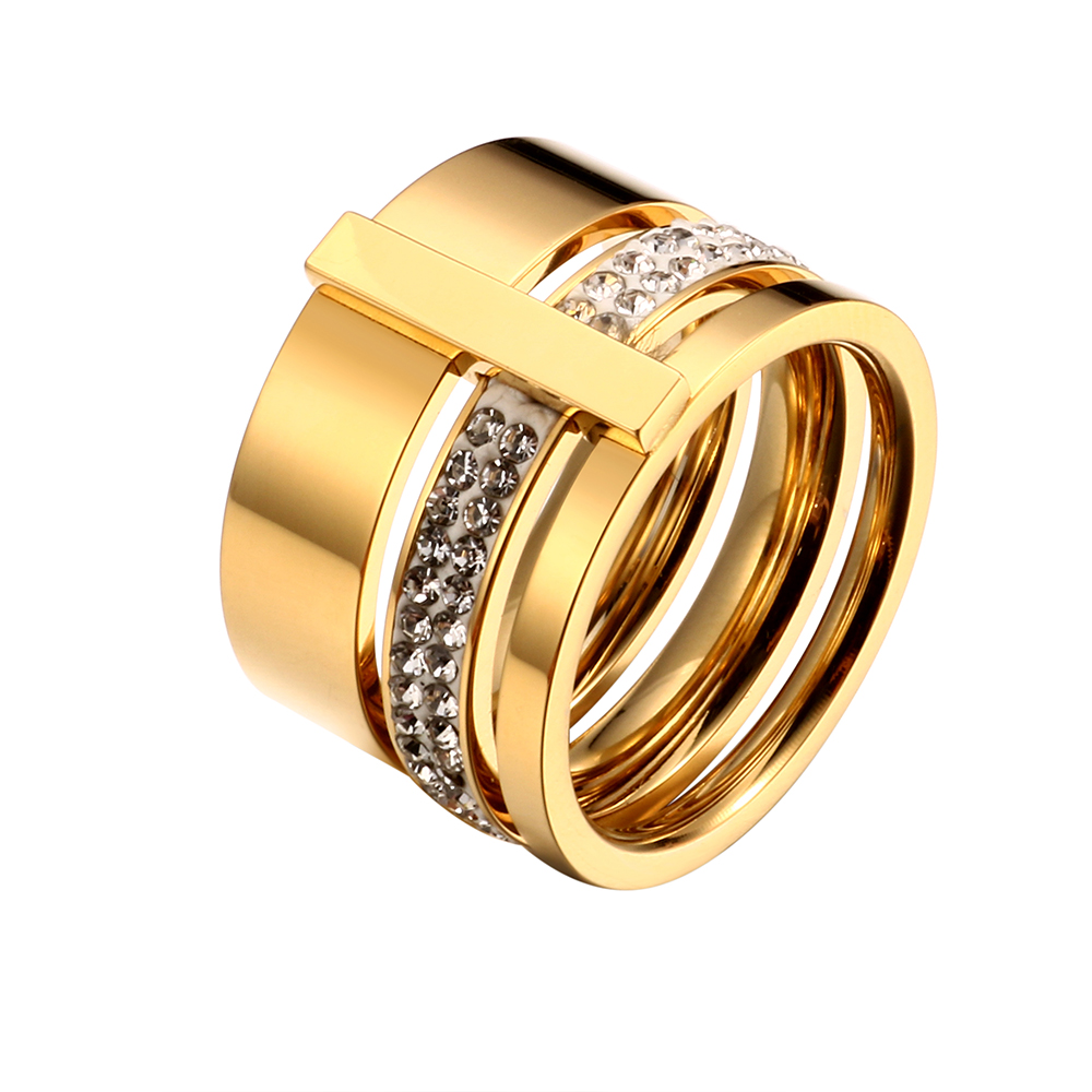 Rustfritt stål Rose Gold Rings for Woman Menn Stones og krystaller for smykker Kvinne Ring Luxury Engagement Wedding Gift Lot