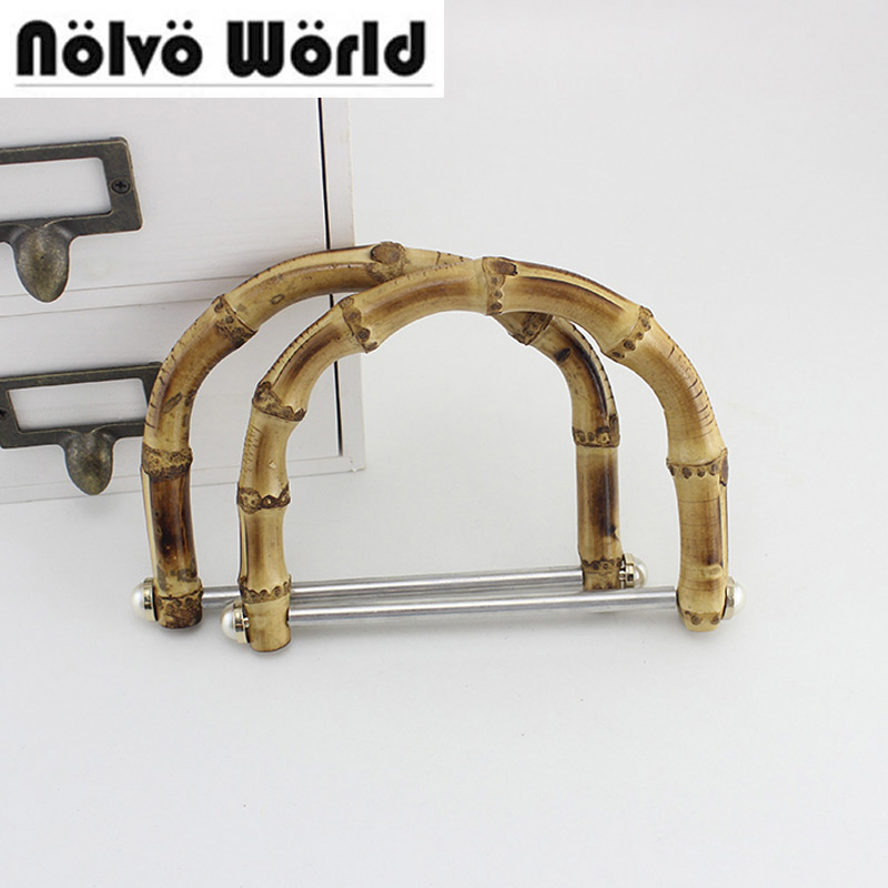 2 Pairs=4 Pieces,14.8x12cm Bamboo Handles Aluminium Pipe Embellishments Pearl Studs Bamboo Handles For Sewing Bags Handbag Purse Consumers First Bag Parts & Accessories
