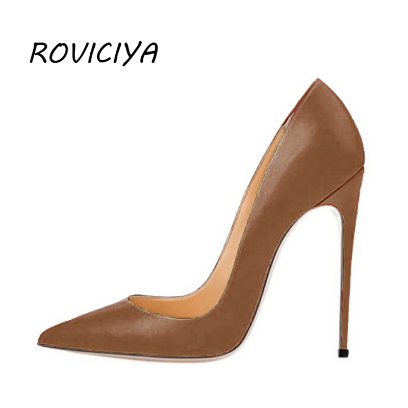 Mulher de salto alto sapatos femininos bombas 12 cm sapatos stilettos para mulher couro do plutônio sapatos de casamento marrom nu preto yg001 roviciya
