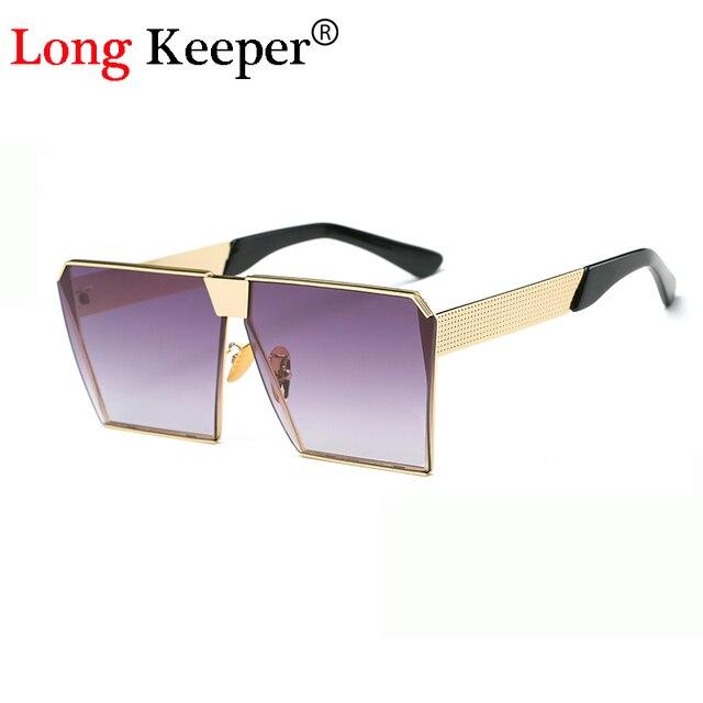 a84f22c43ee136 Long keeper 2017 new vierkante hip hop modemerk designer zonnebril mannen  vrouwen spiegel zonnebril oversize brillen